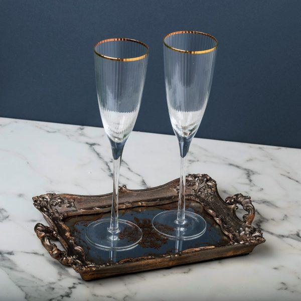 שישיית כוסות שמפניה - פס זהב