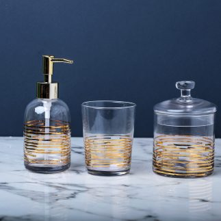 סט אמבטיה – 3 חלקים – פס זהב