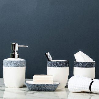 סט אמבט 4 חלקים – פס אפור-כחול