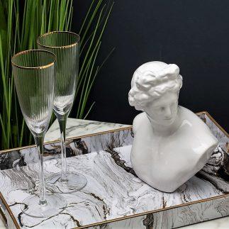 שישיית כוסות שמפניה – פס זהב