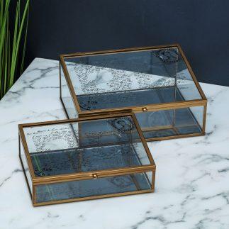 קופסת תכשיטים בצבע זהב ובסיס מראה-  DIANA