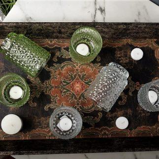 שלישיית כוסות לנר ירוק/שקוף – BUBBLE