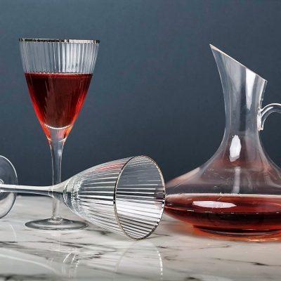 שישיית כוסות יין - פס כסף