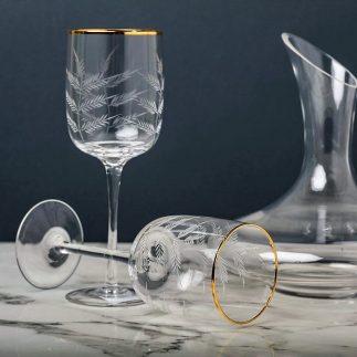 שישיית כוסות יין- פס זהב