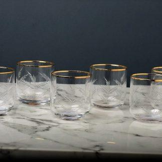 שישיית כוסות – פס זהב -נמוכות