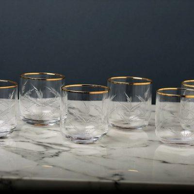 שישיית כוסות - פס זהב -נמוכות