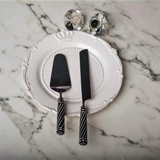 כף וסכין לעוגה- שחור- לבן