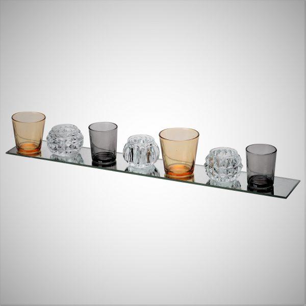 מגש + 7 כוסות צבעוניות לנרות - ROSE