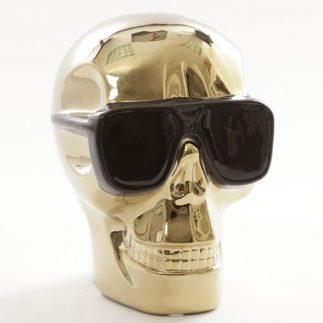 פסל גולגולת עם משקפיים- זהב/כסף