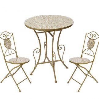"""סט- שולחן 70 ס""""מ + זוג כסאות פסיפס בשלושה צבעים!"""