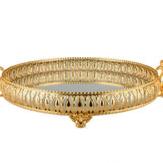 מגש מראה עגול זהב/זהב עתיק