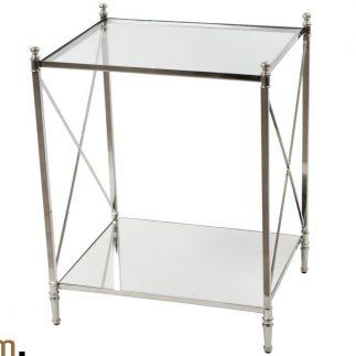 שולחן טלפון זכוכית שקופה/שחורה