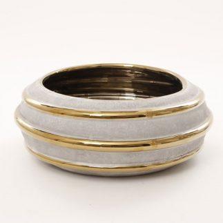 אגרטל/ קערה מעוצבת להגשה ונוי – NAPOLI – זהב/כסף