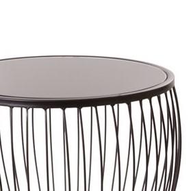 זוג שולחנות מתכת + זכוכית שחורה – KIKI