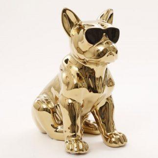 פסל בולדוג עם משקפים – זהב/כסף