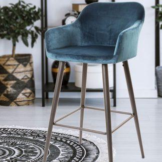 סדרת כסאות בר קטיפה בשני צבעים