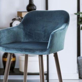 כסא בר קטיפה – כחול-ירוק