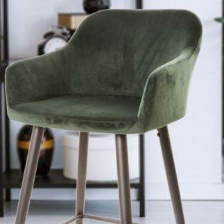 כיסא בר קטיפה – ירוק