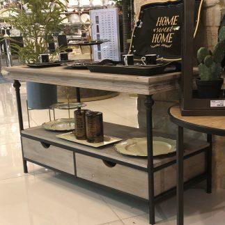 קונסולה/ שולחן עץ + מתכת עם 2 מגירות