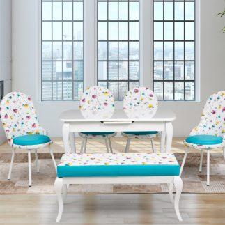 שולחן אוכל מלבני לבן נפתח + 4 כסאות + הדום – עשרות צבעים לבחירה!