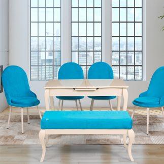 שולחן אוכל מלבני שמנת נפתח + 4 כסאות + הדום – עשרות צבעים לבחירה!