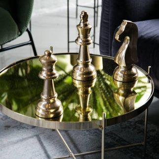 שולחן סלון – BLACK MIRROR זהב  גדול/בינוני