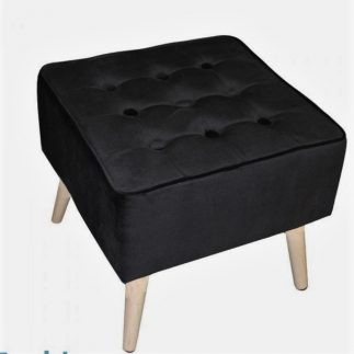 הדום קטיפה מרובע – CHINO- שחור/אפור