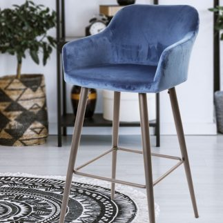 כיסא בר קטיפה – כחול