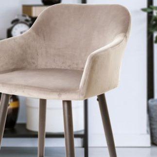 כיסא בר קטיפה – אפור