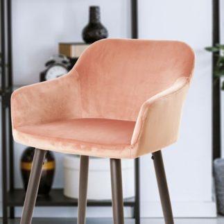 כיסא בר קטיפה – ורוד פודרה