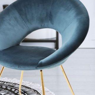 כיסא קטיפה – כחול- ירוק- רגלי זהב