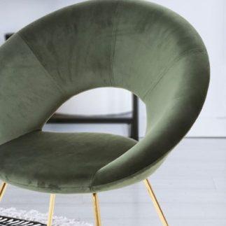 כיסא קטיפה ירוק- רגליים זהב