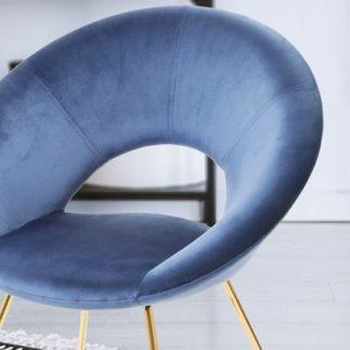 כיסא קטיפה כחול – רגליים זהב