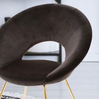 כיסא קטיפה שחור- רגליים זהב