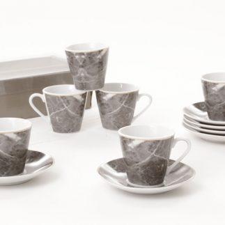 סט 6 כוסות קפה + 6 תחתיות פורצלן שיש אפור/שיש לבן