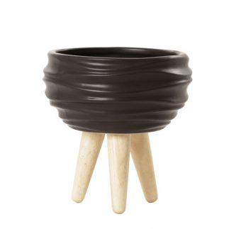 בית עציץ רגלי עץ – FLORAL שחור/אפור