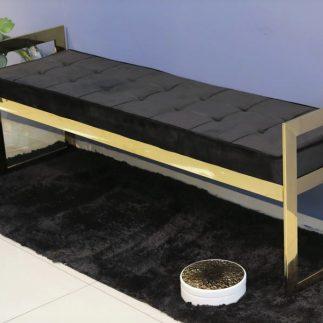 ספסל קטיפה בצבע זהב – שחור/כחול/פודרה