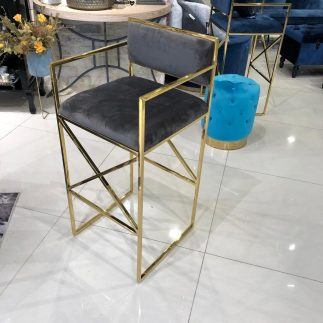 כיסא בר – HOUSTON זהב – אפור