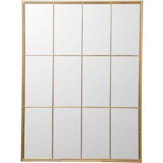 מראת חלון מרובעת בצבע זהב