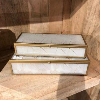 זוג קופסאות  תכשיטים מלבניות -SPRING לבן