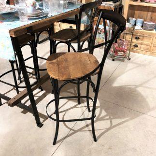 זוג כסאות בר מתכת ועץ מלא