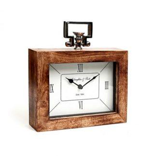 שעון מסגרת עץ – מלבני