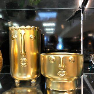 אגרטל/בית עציץ – ZAMBIA זהב/לבן/אפור גדול