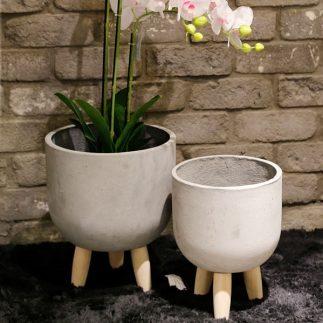 זוג בתי עציץ בטון – TONE אפור בהיר/אפור כהה/לבן