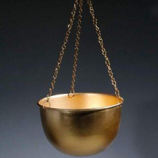מעמד עציצים לתקרה – BOWLI זהב מט/שחור מט