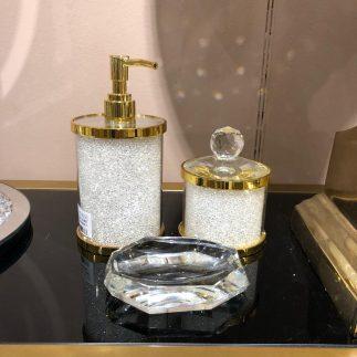 סט אמבט – SPARKLING זהב – לבן