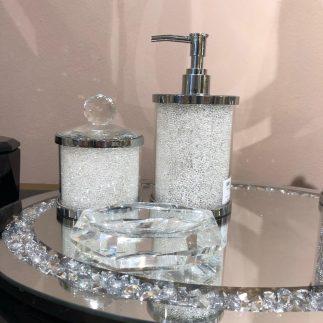 סט אמבט – SPARKLING כסף – לבן