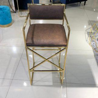 כיסא בר – HOUSTON זהב – חום דמוי עור