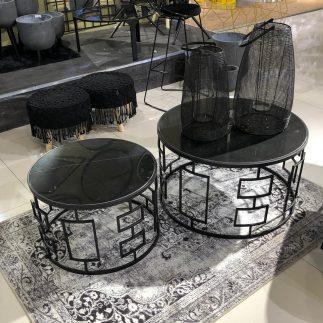 זוג שולחנות שיש עגולים – MARVEL זוג גדול/זוג קטן שחור-שחור