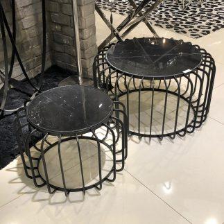 זוג שולחנות שיש עגולים – MAR-BELLS שחור-שחור